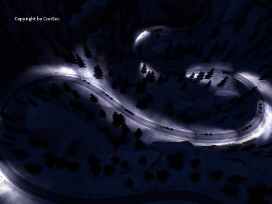 Serpentinen bei Nacht